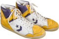 Basketball Collectibles:Others, 1986-89 Magic Johnson Game Worn Los Angeles Lakers Sneakers, MEARSAuthentic....