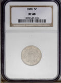 Shield Nickels: , 1880 5C XF40 NGC. An elusive business strike Shield nickel that isperhaps even more challenging than its tiny mintage of 1...