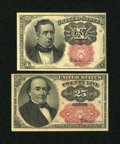 Fractional Currency:Fifth Issue, Fr. 1266 10c Fifth Issue Choice New. Fr. 1309 25c Fifth Issue Extremely Fine.... (Total: 2 notes)