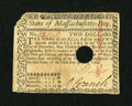 Colonial Notes:Massachusetts, Massachusetts May 5, 1780 $2 Extremely Fine....