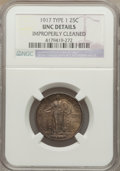 Standing Liberty Quarters: , 1917 25C Type One -- Improperly Cleaned -- NGC Details. Unc. NGC Census: (3/1141). PCGS Population (19/1580). Mintage: 8,74...