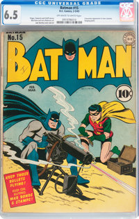 Batman #15 (DC, 1943) CGC FN+ 6.5 Off-white to white pages