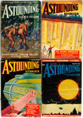 Books:Science Fiction & Fantasy, [Pulps]. Four Issues of Astounding Science Fiction. 1937, 1938. Original printed wrappers. Rubbing, toning and edgew... (Total: 4 Items)