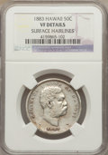 Coins of Hawaii: , 1883 50C Hawaii Half Dollar -- Surface Hairlines -- NGC Details.VF. NGC Census: (5/474). PCGS Population (11/697). Mintage...