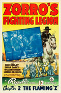 "Movie Posters:Serial, Zorro's Fighting Legion (Republic, 1939). One Sheet (27"" X 41"")Chapter 2: ""The Flaming 'Z'."". ..."