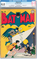 Golden Age (1938-1955):Superhero, Batman #14 (DC, 1943) CGC VG 4.0 Off-white to white pages....