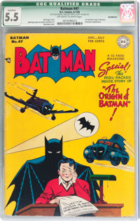 Batman #47 (DC, 1948) CGC Qualified FN- 5.5 Off-white to white pages