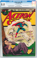 Golden Age (1938-1955):Superhero, Action Comics #79 (DC, 1944) CGC VF 8.0 Off-white to white pages....