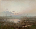 Fine Art - Painting, European:Antique  (Pre 1900), Circle of SERGEI IVANOVICH VASILKOVSKY (Russian, 1854-1917).Marshes at Sunset with Two Walking Cranes. Oil on panel.13...