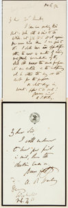 Autographs:Authors, [Religious Authors and Figures]. Group Lot of Autograph and Typed Letters Signed. Includes Arthur Penrhyn Stanley, Daniel Fr...
