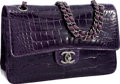 "Luxury Accessories:Bags, Chanel Amethyst Crocodile Double Flap Bag with Brushed GunmetalHardware . Excellent Condition . 11"" Width x 6.5""Heig..."