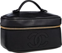"Chanel Black Caviar Leather Cosmetic Case Very Good Condition 7.5"" Width x 4"" Height x 5.25"" Dep"