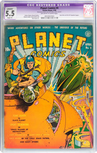 Planet Comics #4 (Fiction House, 1940) CGC Apparent FN- 5.5 Slight (P) Off-white to white pages