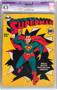 Superman #9 (DC, 1941) CGC Apparent VG+ 4.5 Slight (A) Cream to off-white pages