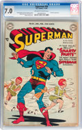 Golden Age (1938-1955):Superhero, Superman #56 (DC, 1949) CGC FN/VF 7.0 Off-white to white pages....