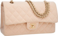 "Chanel Peach Quilted Cotton Jumbo Double Flap Bag with Gold Hardware Excellent Condition 11"" Widt"