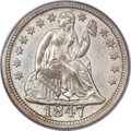 Seated Dimes, 1847 10C MS63 PCGS. CAC. Fortin-103....