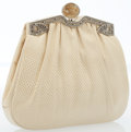 Luxury Accessories:Bags, Judith Leiber Cream Lizard Evening Bag with Jeweled Clasp. ...