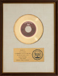 "Music Memorabilia:Awards, Gladys Knight and the Pips ""Midnight Train to Georgia"" RIAA GoldRecord Award (Buddah BDA 383, 1973). ..."