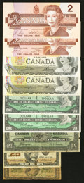 Canadian Currency: , DC-1a and Later Issues.. ... (Total: 9 notes)