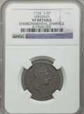 Colonials: , 1724 1/2P Hibernia Halfpenny -- Environmental Damage -- NGCDetails. VF. NGC Census: (3/17). PCGS Population (4/56). ...
