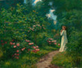 Fine Art - Painting, American:Modern  (1900 1949)  , WILLIAM KING AMSDEN (American, 1859-1933). Woman on a FloralPath. Oil on canvas. 20 x 24 inches (50.8 x 61.0 cm). Signe...