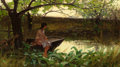 Fine Art - Painting, American:Antique  (Pre 1900), CHARLES MORGAN MCILHENNEY (American, 1858-1904). Sitting by aCreek Bed, 1883. Oil on canvas. 7 x 12 inches (17.8 x 30.5...