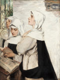 Fine Art - Painting, American:Antique  (Pre 1900), DAVID DALHOFF NEAL (American, 1838-1915). Three Nuns inPrayer, 1883. Oil on canvas. 31-3/8 x 23-3/8 inches (79.7 x59.4...
