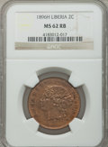 Liberia, Liberia: Republic 2 Cents 1896-H MS62 Red and Brown NGC,...