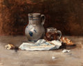 Fine Art - Painting, American:Antique  (Pre 1900), HELEN E. ROBY (American, 19th/20th Centuries). Still Life withPitcher and Brie, 1885. Oil on canvas. 18 x 22 inches (45...