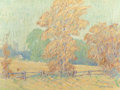 Fine Art - Painting, American:Modern  (1900 1949)  , JAMES ROSS (American, 1871-1944). Old Wooden Fence on a Farm inAutumn. Oil on canvas. 12 x 16 inches (30.5 x 40.6 cm). ...