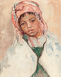Fine Art - Painting, American:Modern  (1900 1949)  , CALEB ARNOLD SLADE (American, 1882-1961). Portrait of a YoungArab Girl. Oil on canvas laid on board. 10-1/2 x 8-1/2 inc...