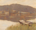 Fine Art - Painting, American:Antique  (Pre 1900), GEORGE SLOANE (American, 1864-1942). Water View with Dingy,1895. Oil on canvas. 9 x 11 inches (22.9 x 27.9 cm). Signed ...