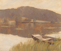 GEORGE SLOANE (American, 1864-1942) Water View with Dingy, 1895 Oil on canvas 9 x 11 inches (22.9