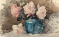 Fine Art - Work on Paper:Watercolor, ROSS STERLING TURNER (American, 1847-1915). Roses in a Vase,circa 1885. Watercolor on paper. 13 x 21 inches (33.0 x 53....