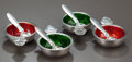 Silver Holloware, Continental:Holloware, FOUR DANISH SILVER AND ENAMEL OPEN SALTS WITH SPOONS, Georg Jensen,Inc., Copenhagen, Denmark, circa 1930. Marks to open sal... (Total:8 Items)