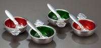FOUR DANISH SILVER AND ENAMEL OPEN SALTS WITH SPOONS, Georg Jensen, Inc., Copenhagen, Denmark, circa 1930 Marks to