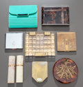 Miscellaneous, A GROUP OF NINE COSMETIC CASES AND PERFUME ATOMIZERS, Various makers, 20th century. 3 x 3-5/8 x 5/8 inches (7.6 x 9.2 x 1.6 ... (Total: 9 Items)