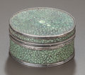 Silver Smalls:Other , A SILVER MOUNTED SHAGREEN DRESSING TABLE BOX, Attributed to JohnPaul Cooper, 20th century. 1-1/2 inches high x 2-3/4 in...