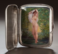 Silver Smalls:Cigarette Cases, A CONTINENTAL SILVER AND ENAMEL EROTIC CIGARETTE CASE, circa 1910.3-5/8 inches high (9.2 cm). 5.19 troy ounces (gross). ...