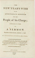 Books:Religion & Theology, Thaddeus Mason Harris. THE NEW YEAR'S WISH OF AN AFFECTIONATE MINISTER FOR THE PEOPLE OF HIS CHARGE... Boston: 1...