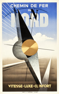 """French Northern Railway Travel Poster (c.1929). Poster (25 X 39.5"""") Artist A. M. Cassandre"""