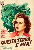 "Movie Posters:War, This Land is Mine (RKO, 1940s). First Poster War Release ItalianOne Sheet (27"" X 39.25""). War.. ..."