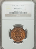 Angola: Portuguese Colony 5 Centavos 1921 MS64 Red and Brown NGC