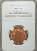 India:British India, India: British India. Victoria 1/4 Anna 1897-(c) MS64 Red and Brown NGC,...