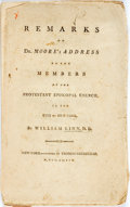 Books:Religion & Theology, William Linn. REMARKS ON DR. MOORE'S ADDRESS TO THE MEMBERS OF THE PROTESTANT EPISCOPAL CHURCH... New-York: Gree...