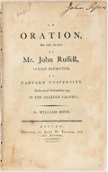 Books:Religion & Theology, William Boyd. AN ORATION, ON THE DEATH OF MR. JOHN RUSSELL... Boston: 1795. First edition. 18 pp, disbo...