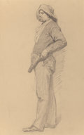 Fine Art - Work on Paper:Drawing, FRANKLIN DE HAVEN (American, 1856-1934). Cowboy, 1863.Pencil on paper. 18 x 12 inches (45.7 x 30.5 cm). Vestige ofsign...