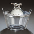 Silver Holloware, Continental:Holloware, A BELGIAN SILVER AND GLASS BUTTER TUB, Maker unidentified, circa1832-1869. Marks: (Janus), (Minerva), W. 4-1/4 inches h...