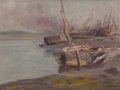 Fine Art - Painting, American:Modern  (1900 1949)  , STEPHEN SEYMOUR THOMAS (American, 1868-1956). Boats at Dock,circa 1900. Oil on panel. 10-3/8 x 13-3/4 inches (26.4 x 34...